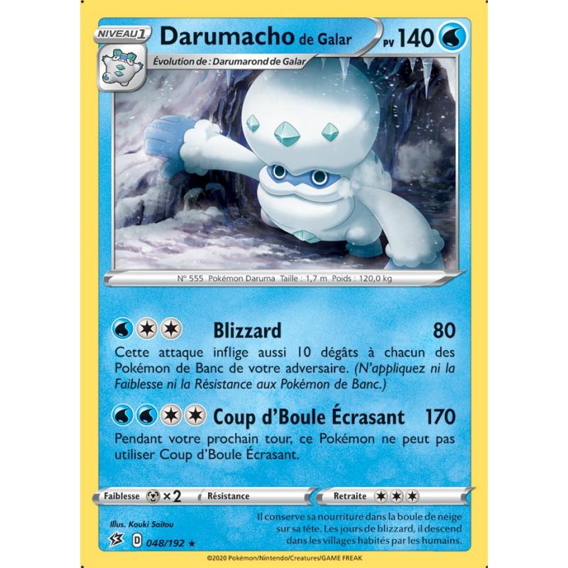 Darumacho de Galar 48/192 PV140 Carte rare Neuve VF