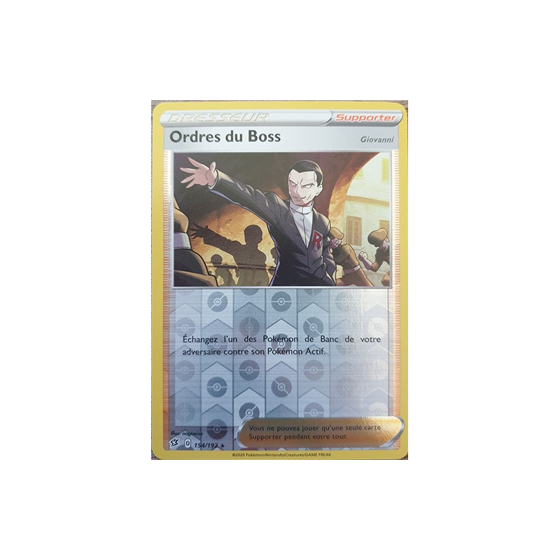 Ordre du Boss 154/192 Carte Dresseur rare reverse Neuve VF
