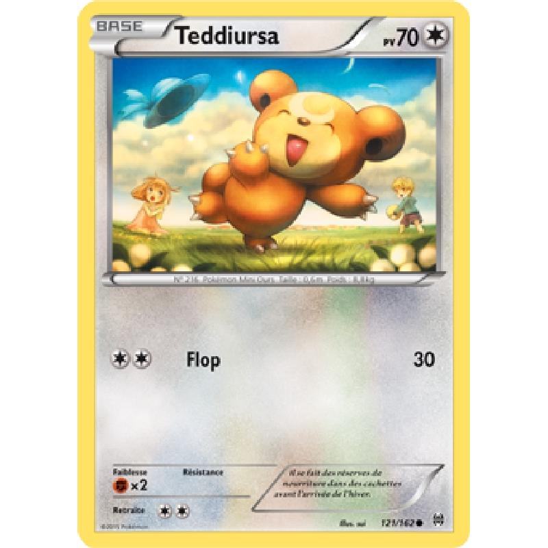 Teddiursa 121/162 PV70 Carte Pokémon™ commune neuve VF