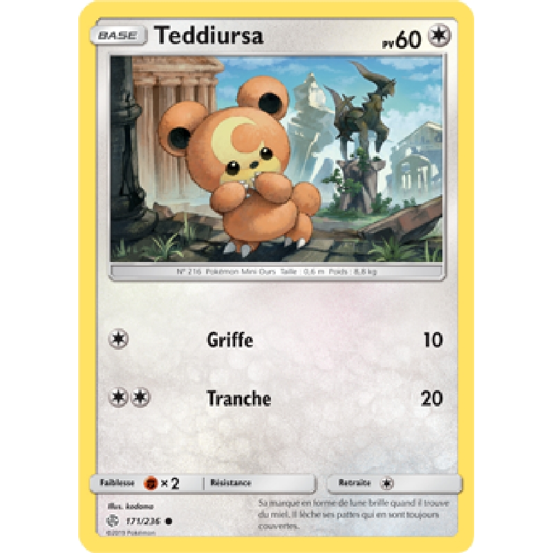 Teddiursa 171/236 PV60 Carte Pokémon™ commune VF