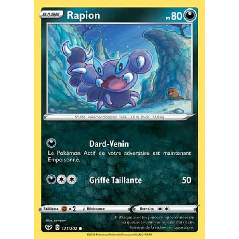 Rapion 121/202 PV80 Carte Pokémon™ commune Neuve VF