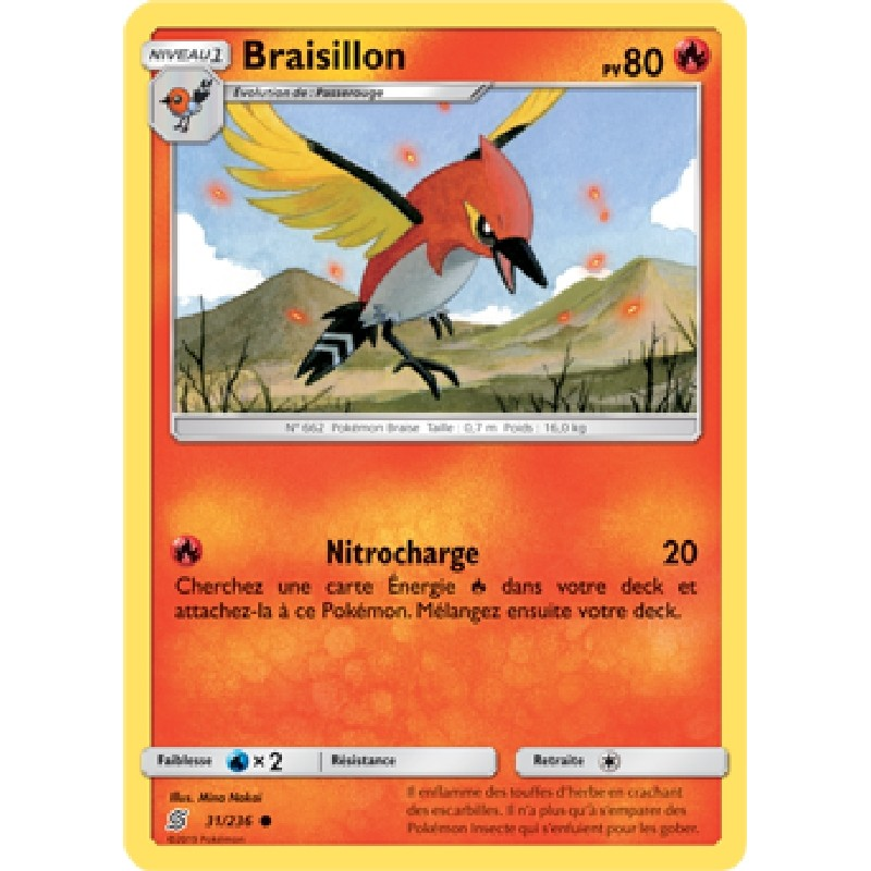 Braisillon 31/236 PV80 Carte Pokémon™ commune Neuve VF
